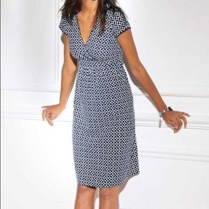 Boden Casual Jersey geometric dress blue white